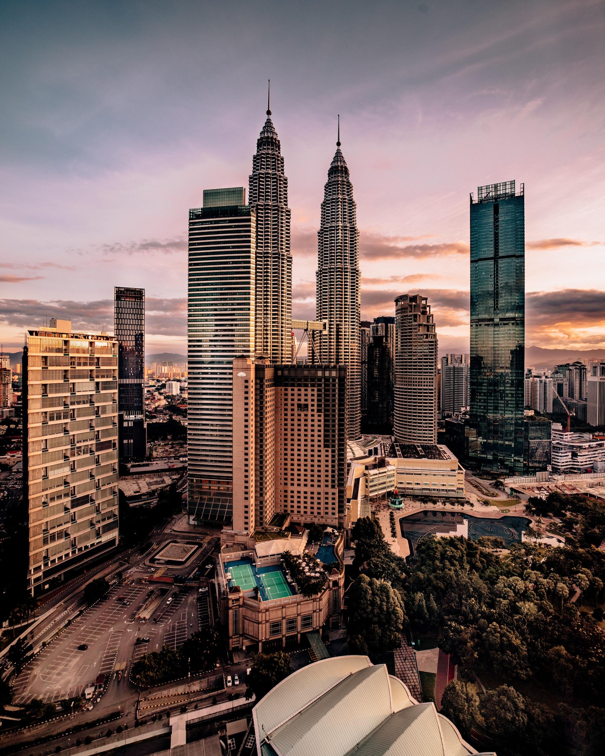 The Petronas Towers in Kuala Lumpur Malaysia.