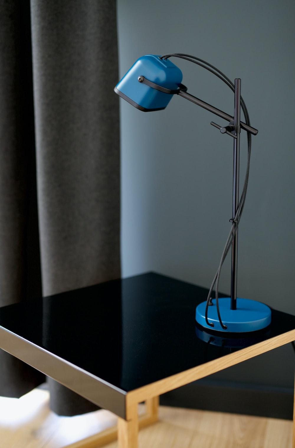 blue and black desk lamp