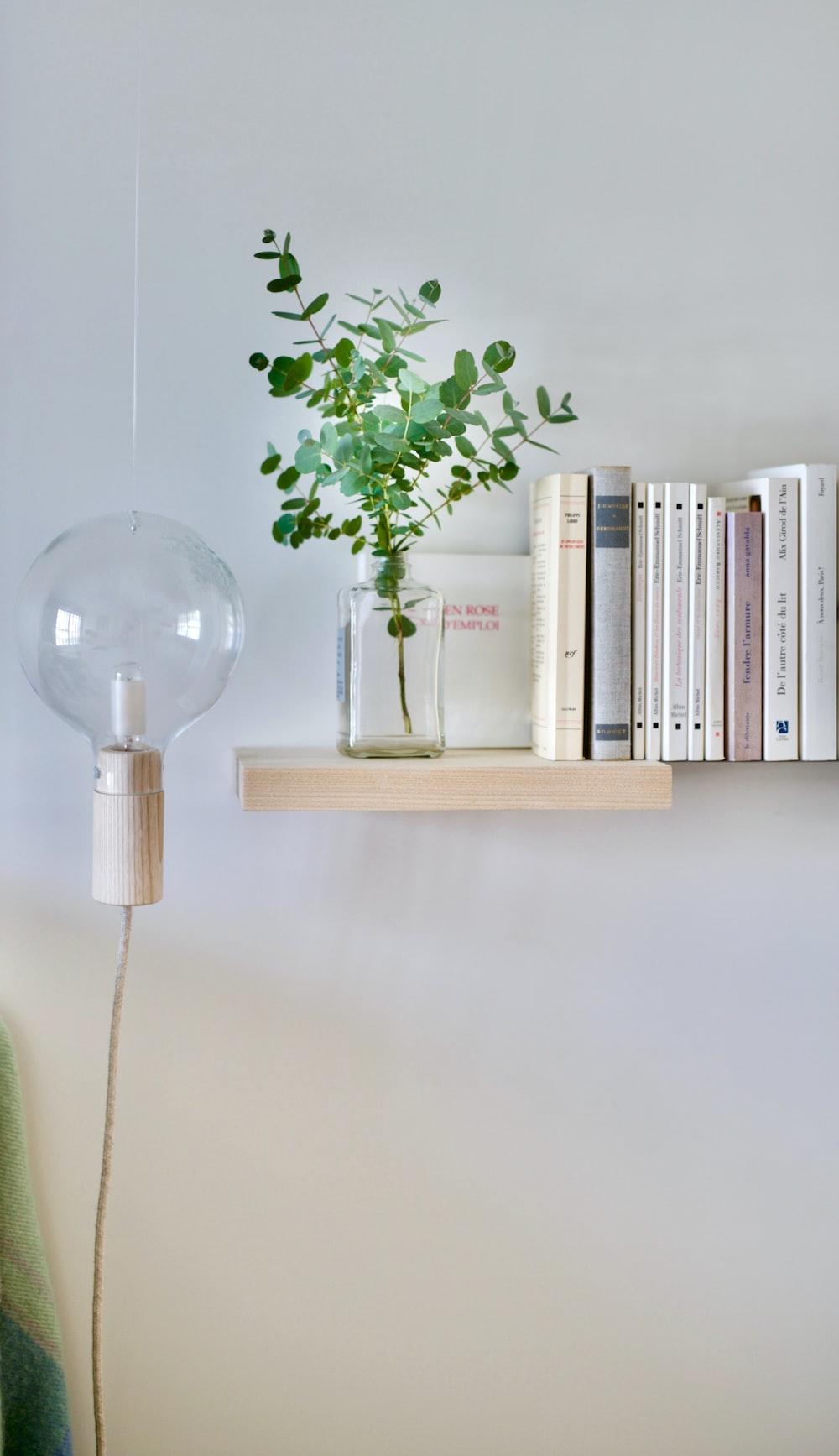 turned-off sconce lamp beside wall bookshelf