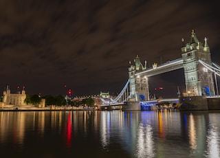 lighted city across bridge