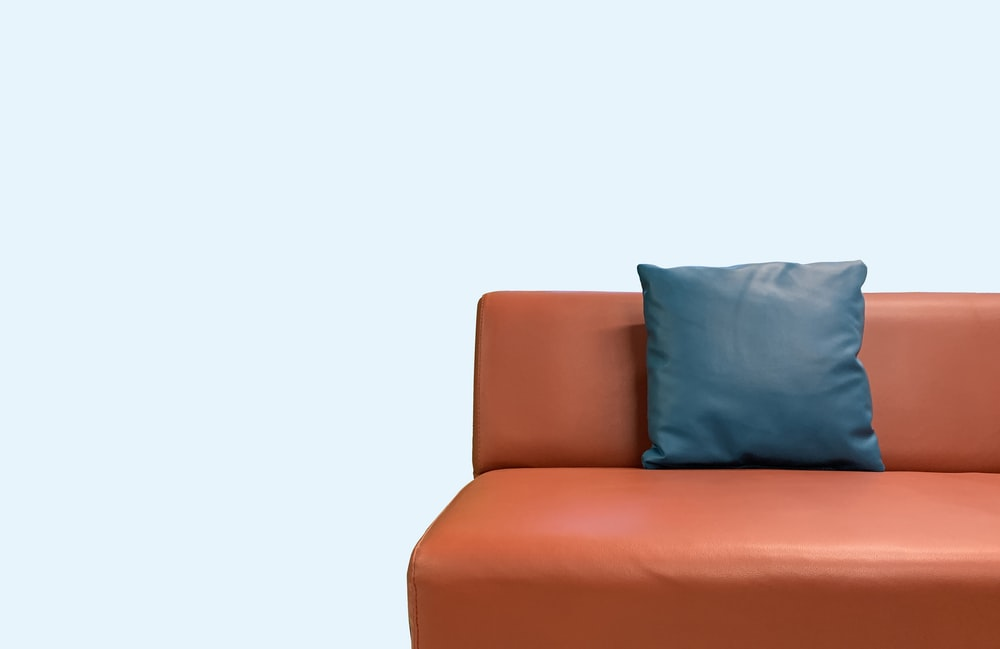 orange leather couch