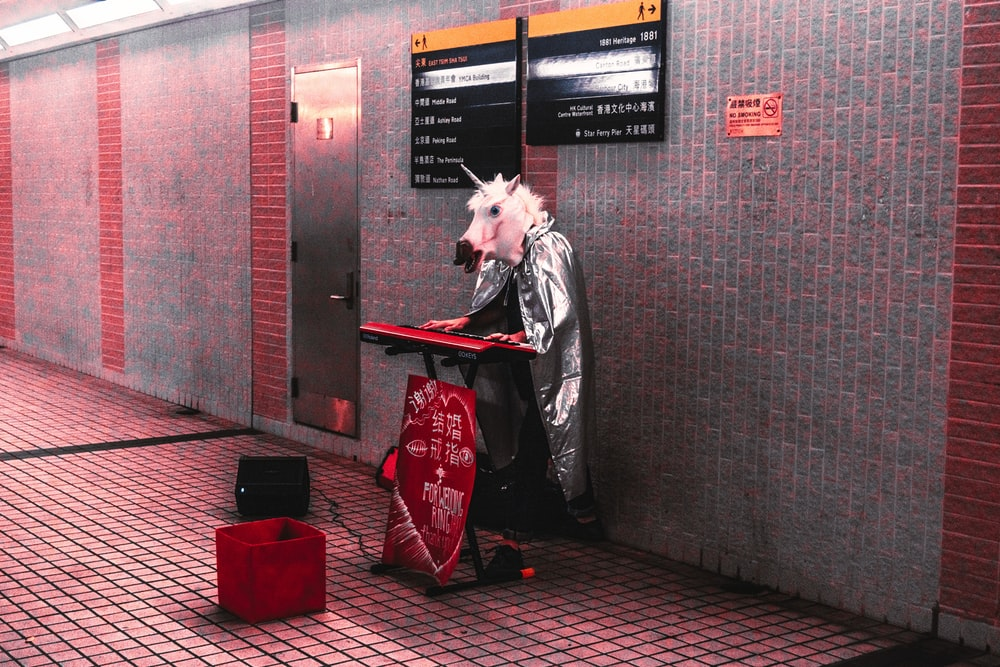 person wearing unicorn head and cape playing keyboard at the station