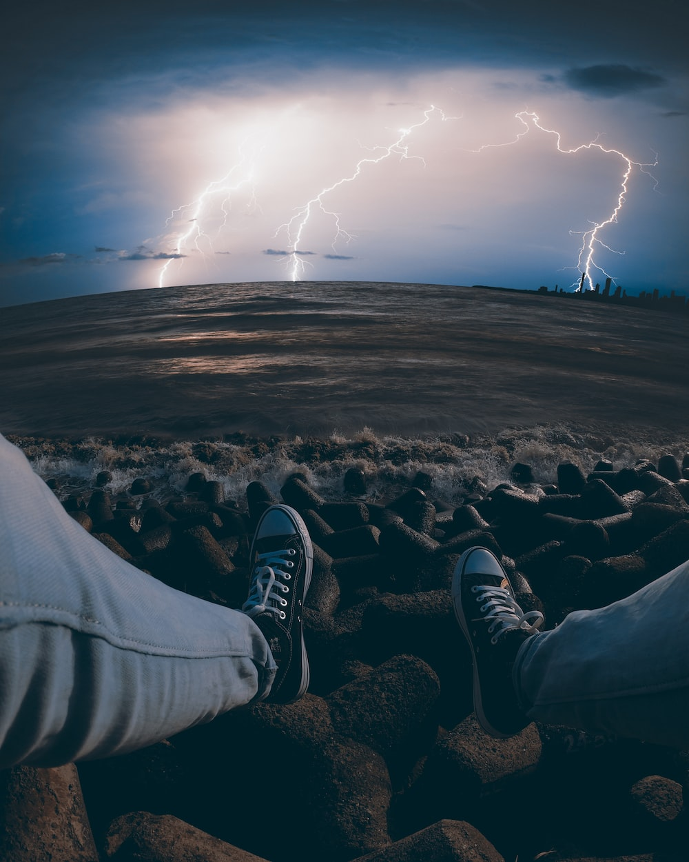 lightning at the sea during stormy day