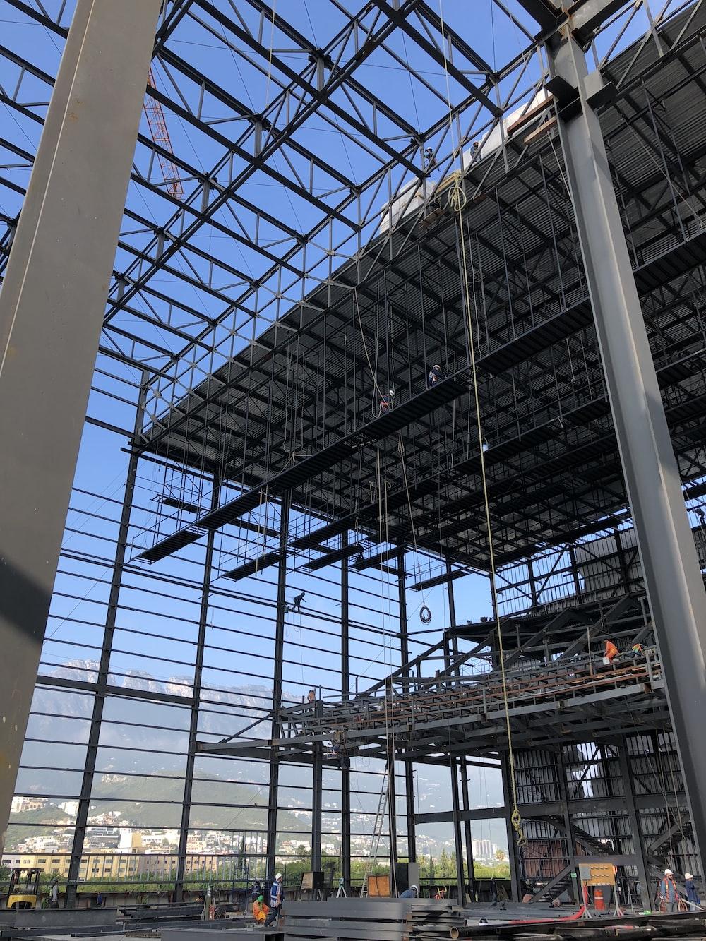 gray metal railings