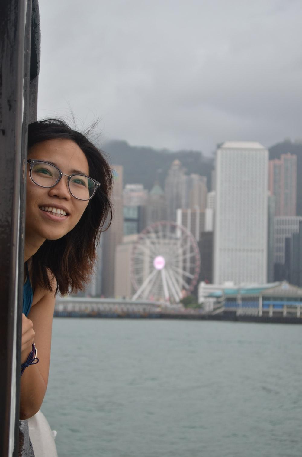 woman wearing black frame eyeglasses