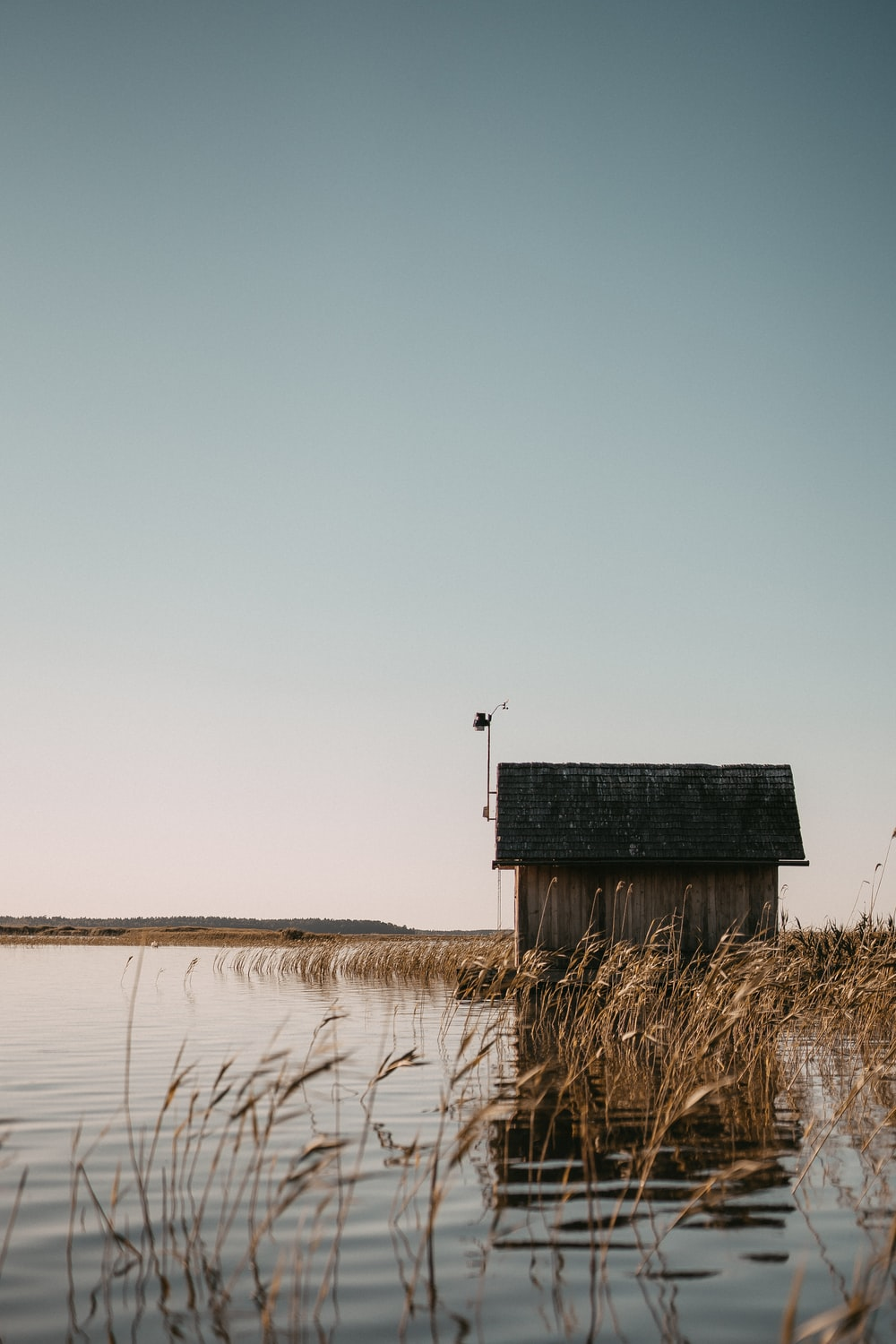 brown wooden house on body of water