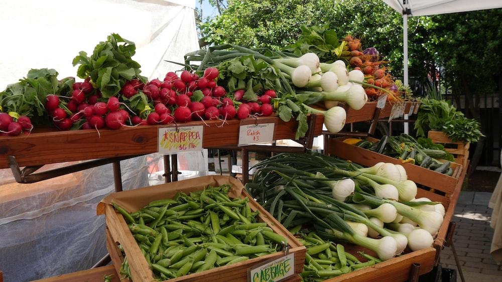 vegetables on trays
