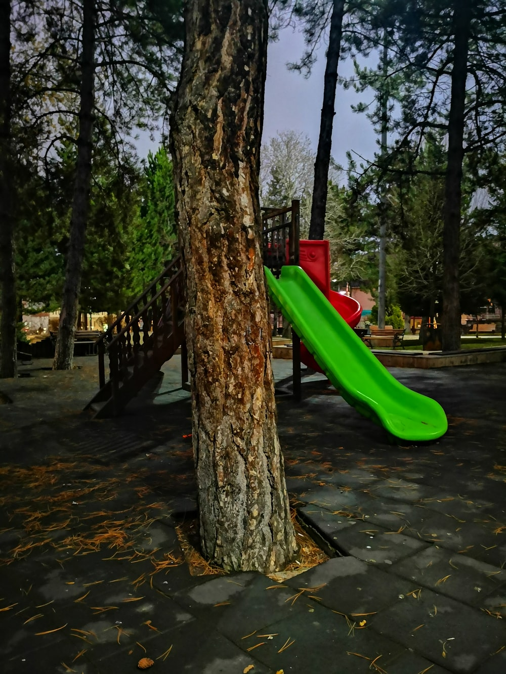 green, red, and brown outdoor playset