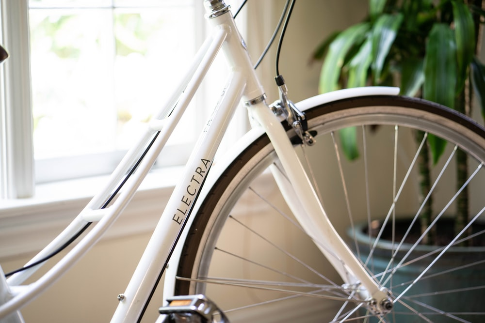 white Electra bicycle