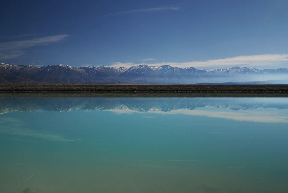 reflective photography of mountain on body of water