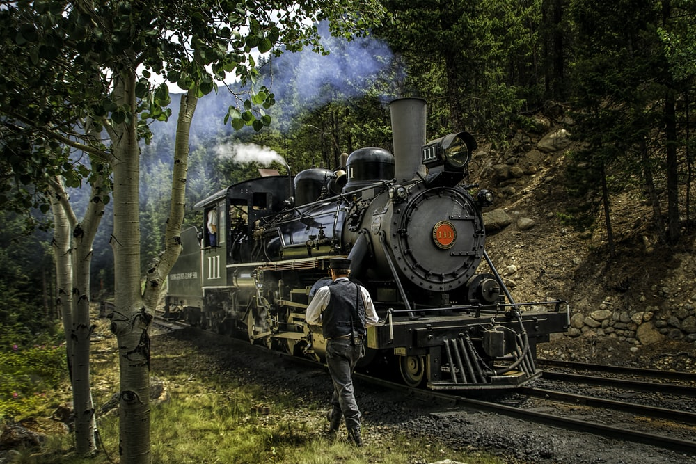 man walking near locomotive and trees