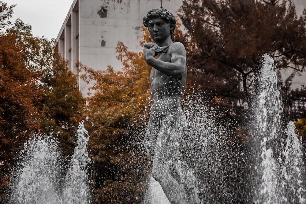 black cherub statue