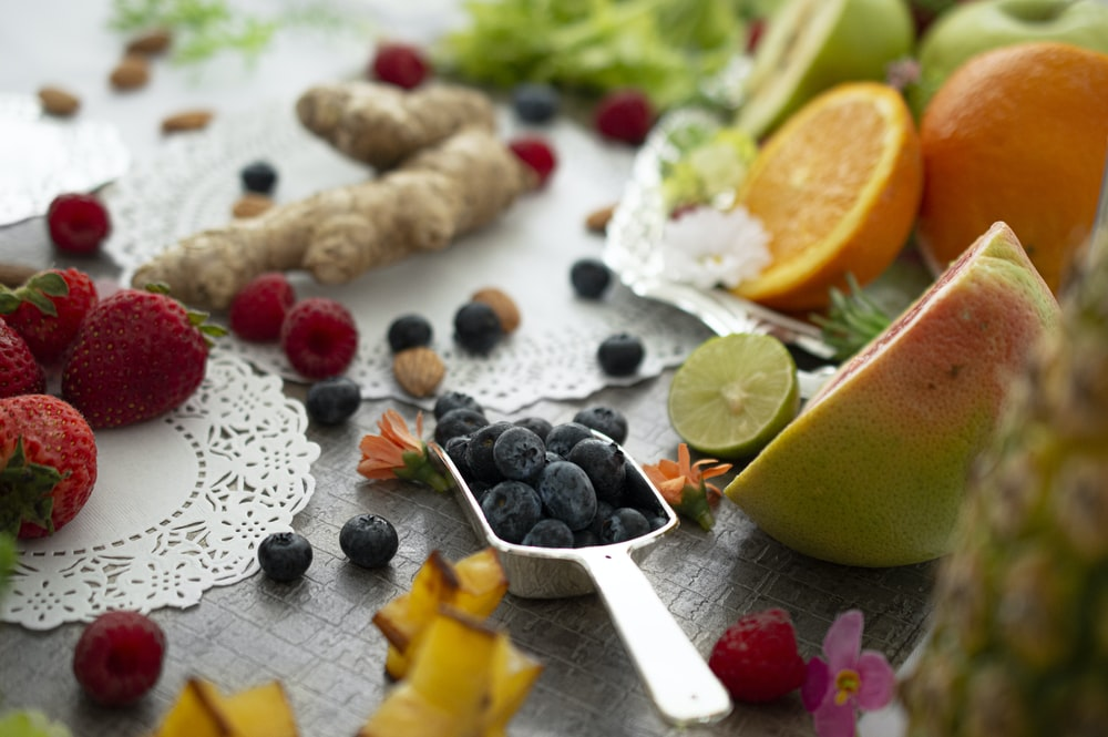 blackberry in grey metal scoop
