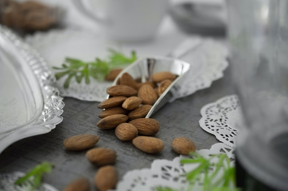 almonds on table