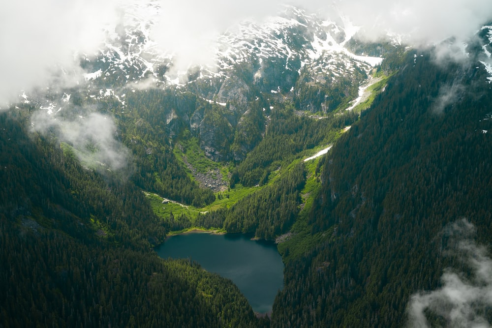 aerial photography of mountain with lake