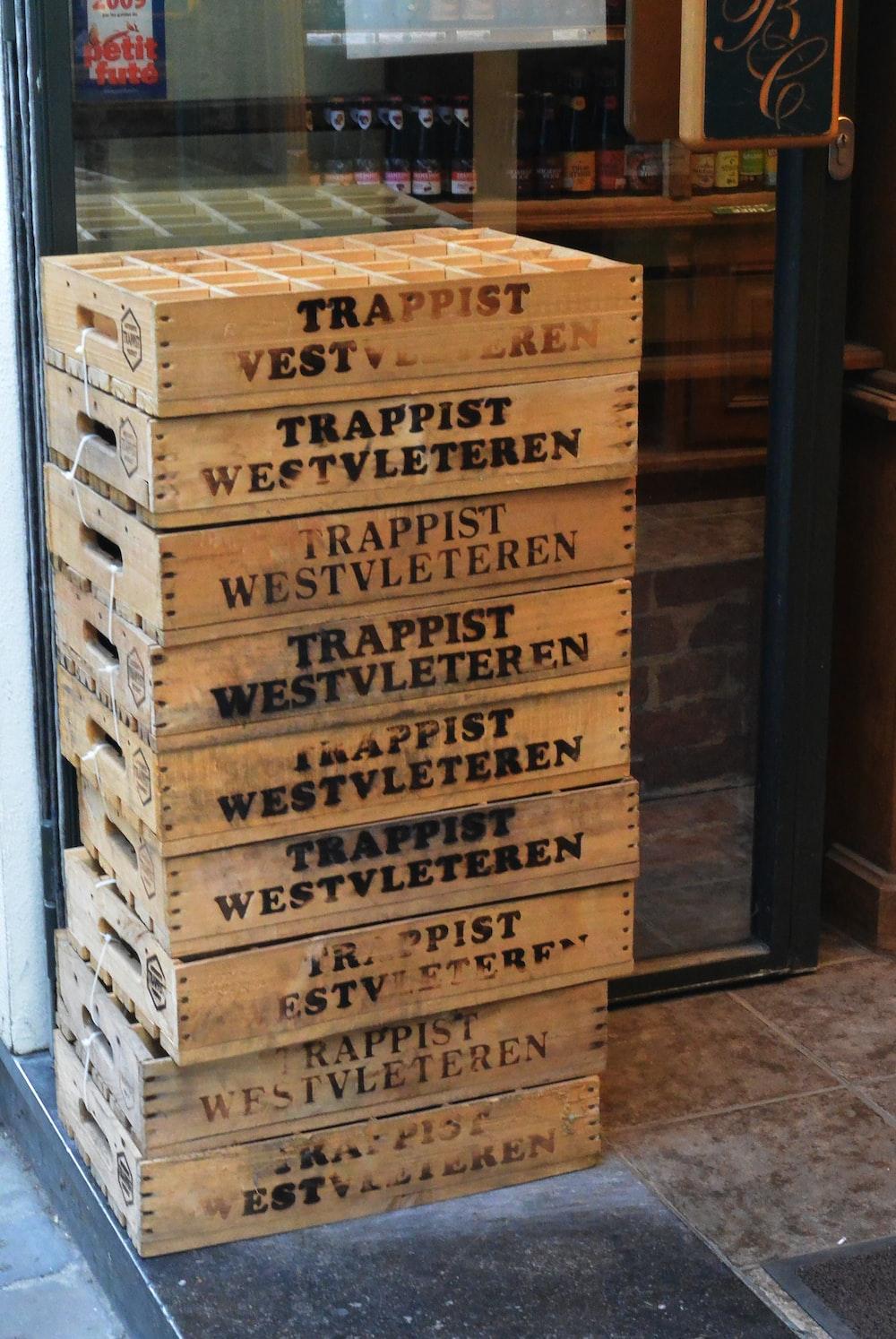 brown wooden racks