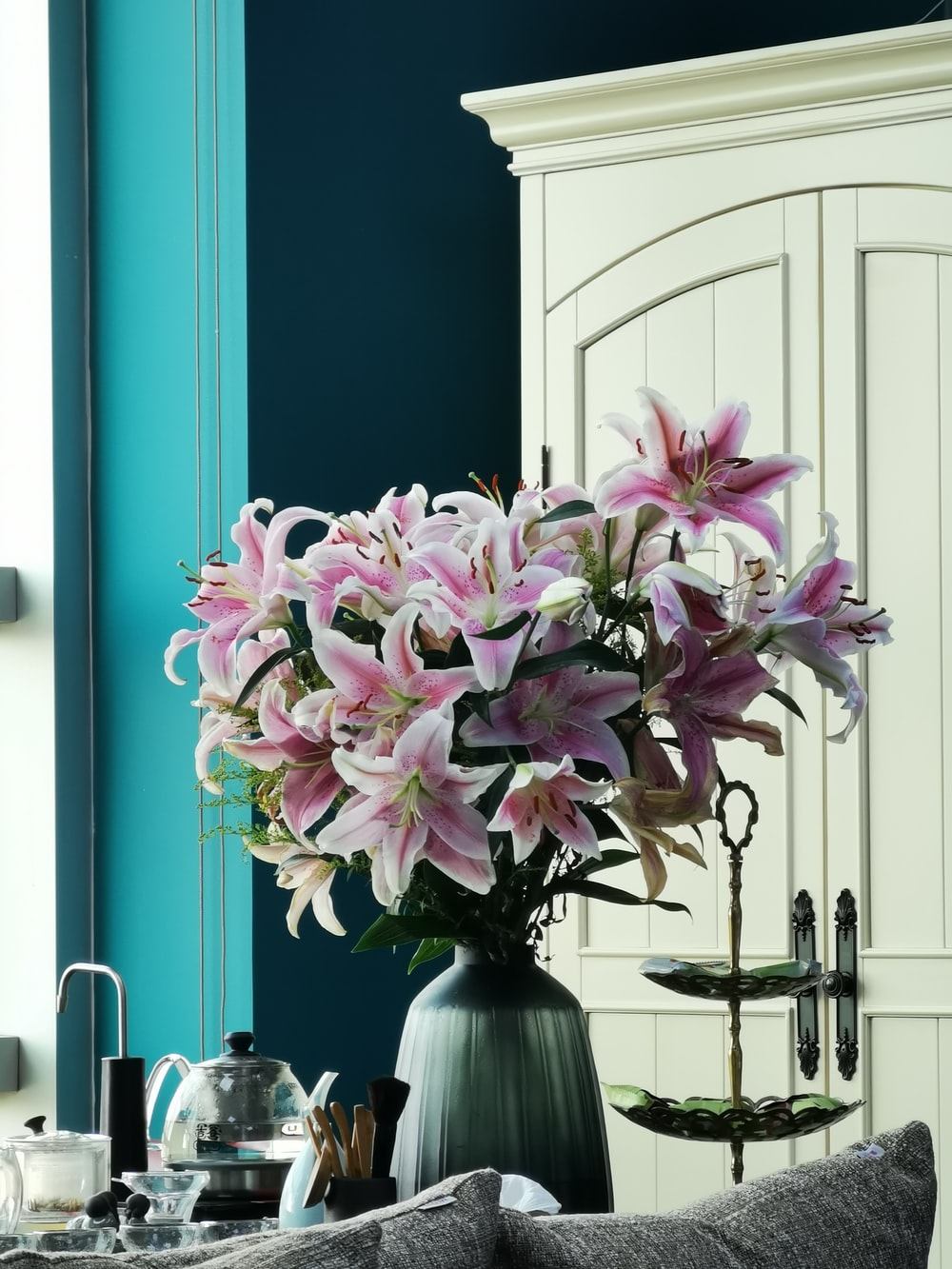 pink-and-white petaled flower plant near items and furniture