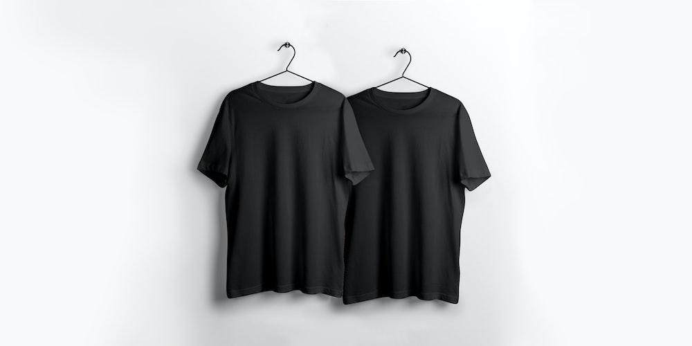 two black crew-neck shirt