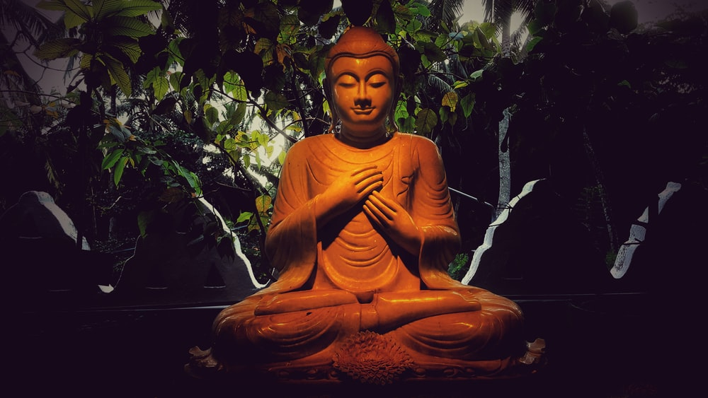 Gautama Buddha figurine near plants