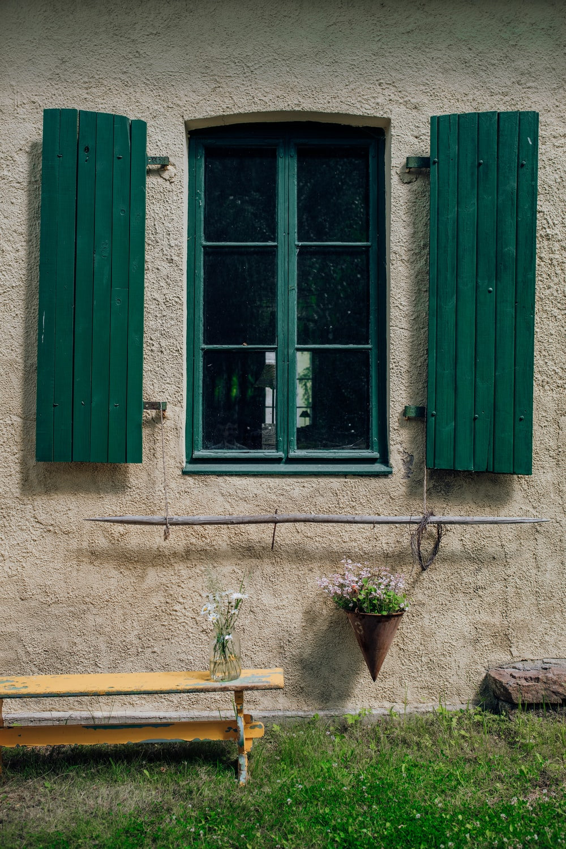 green framed glass window