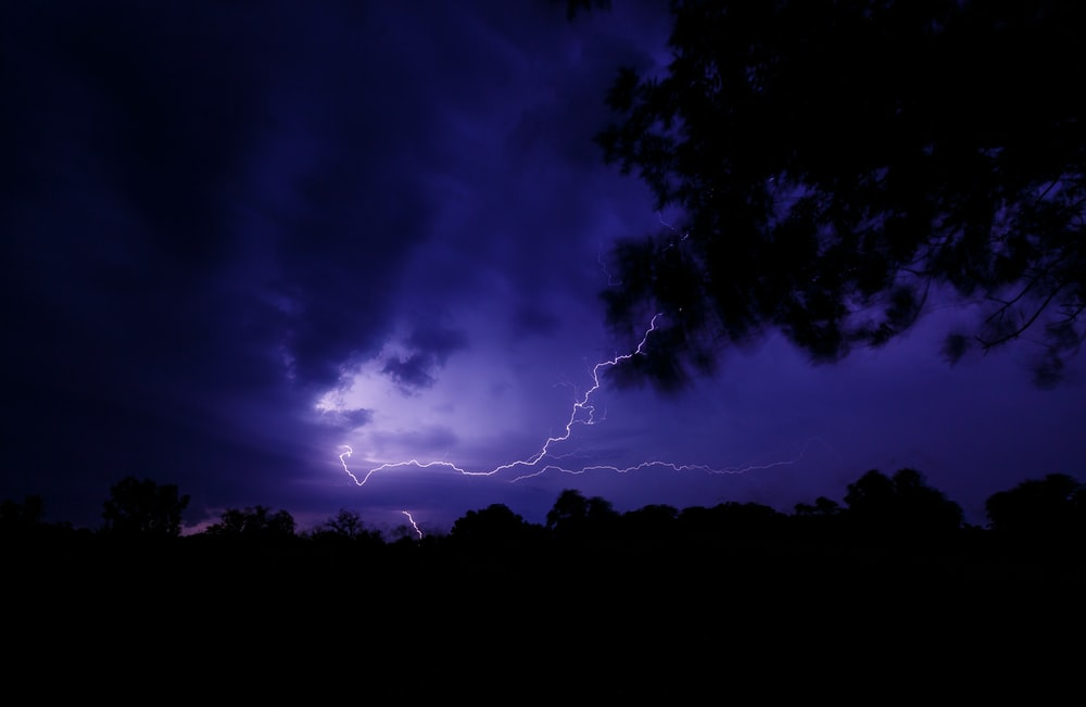 lighting in sky during nighttime