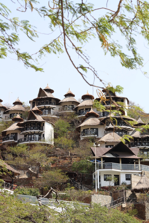 brown houses on mountain