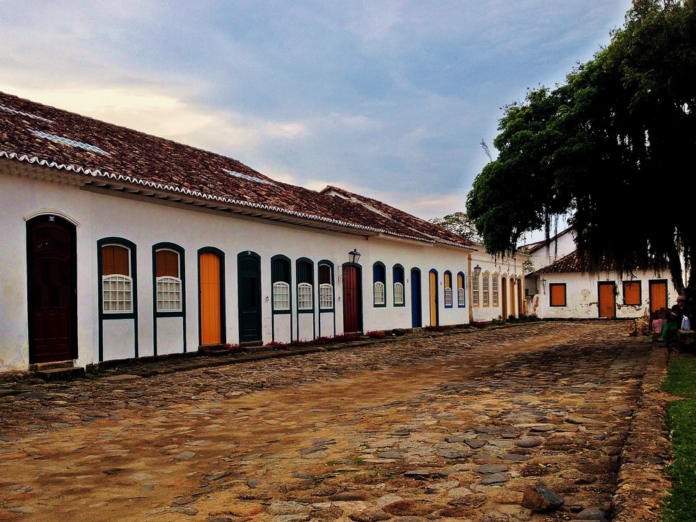 white painted houses