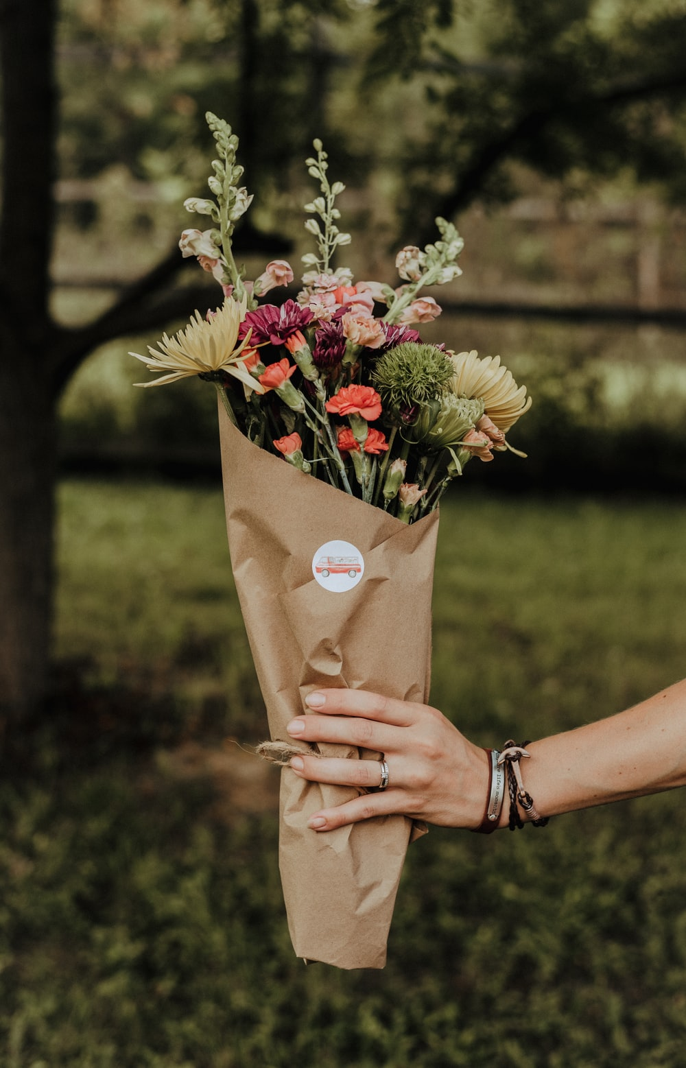 flower bouquet wrapped in brown paper