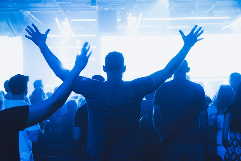 crowd inside bar at night