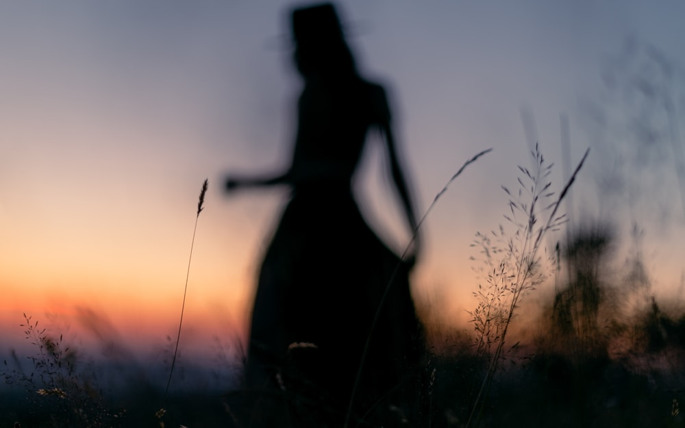 silhouette photography of woman standing on grass field