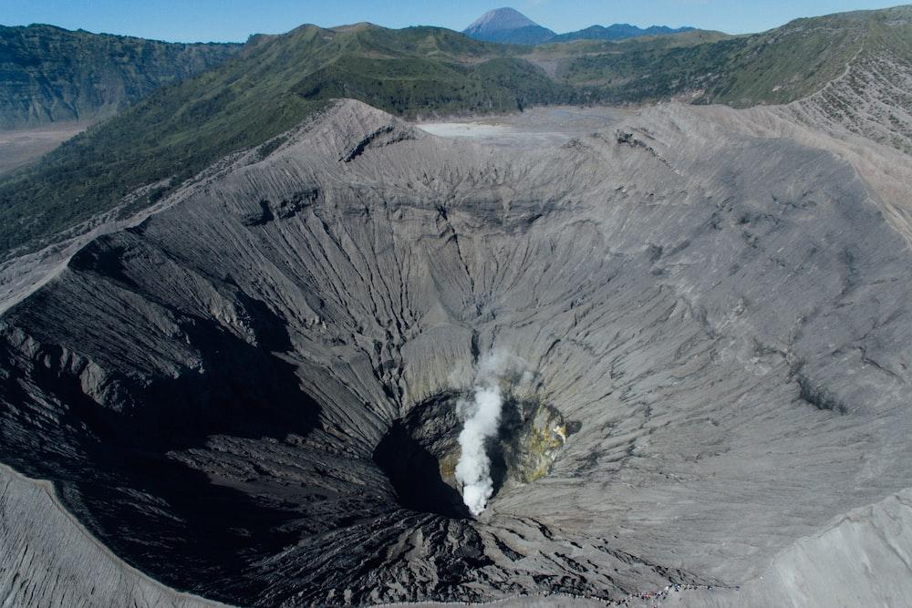 aerial photography of brown volcano peek