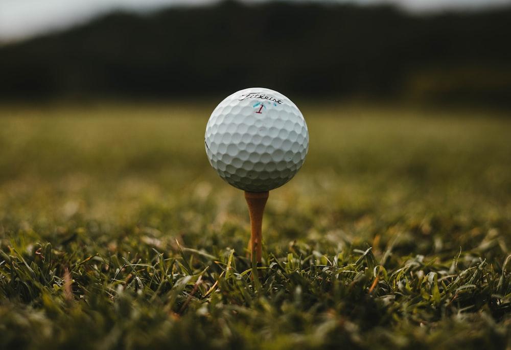 closeup photo of white golf ball
