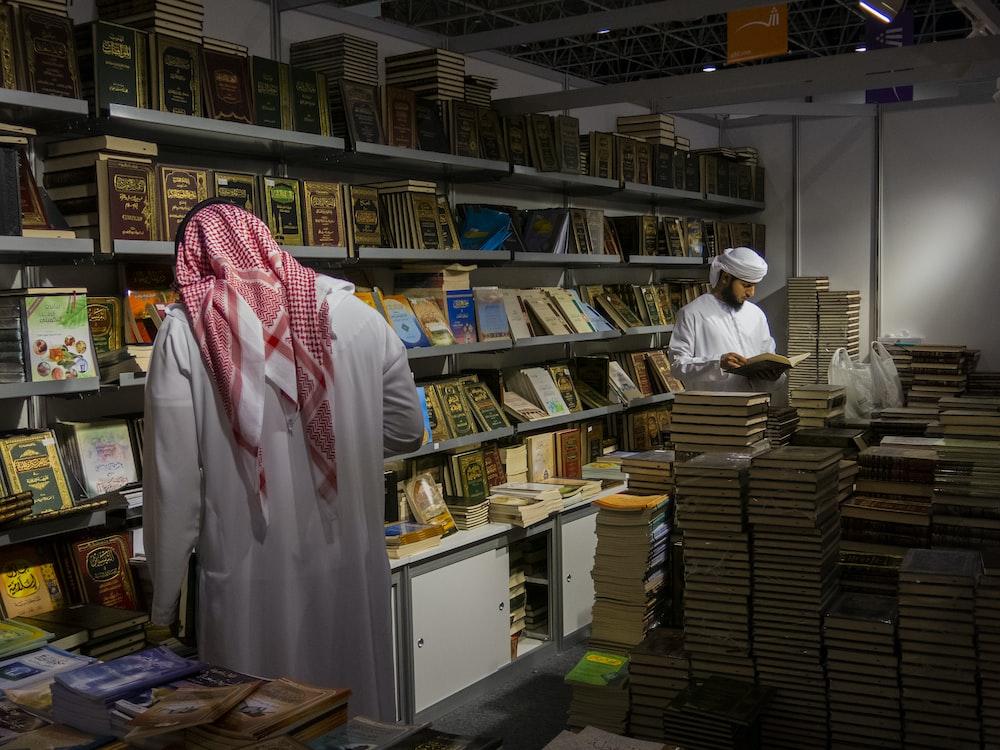 two men inside book store