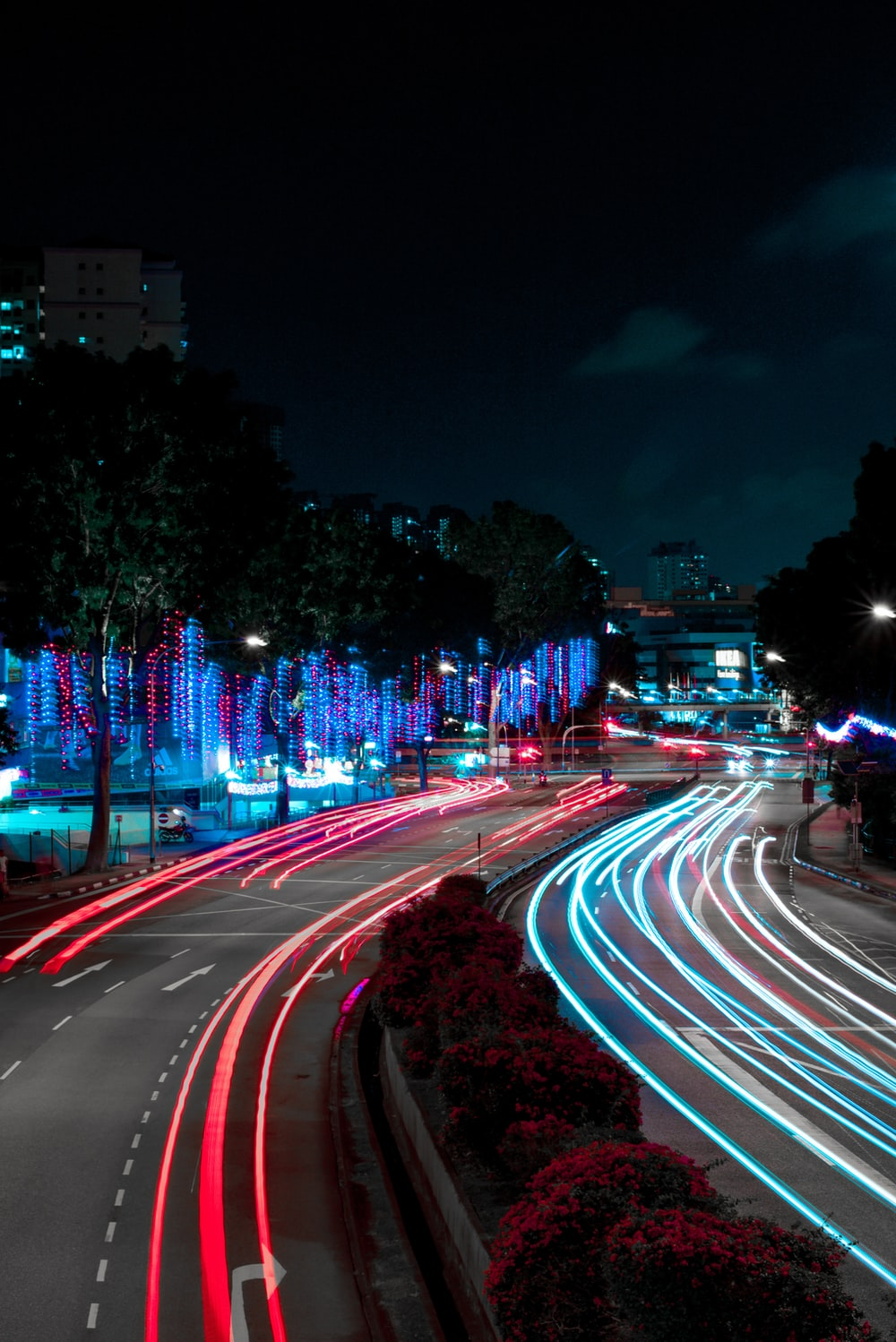 time-lapse photo of lights on street
