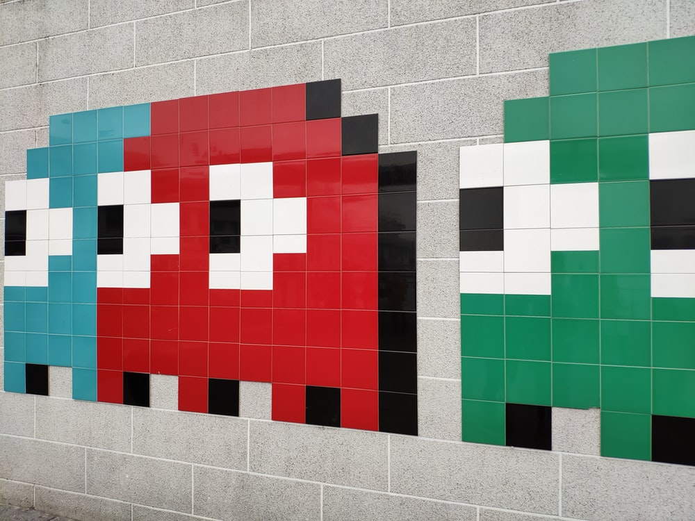 blue, red, and green Pac-Man wall painting