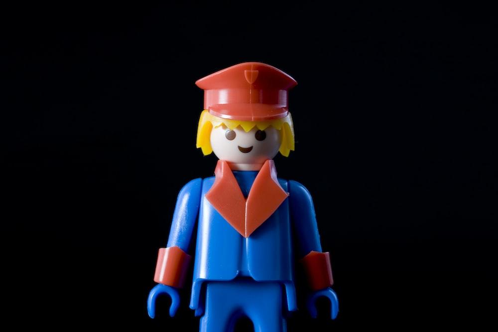 blue and orange plastic figure