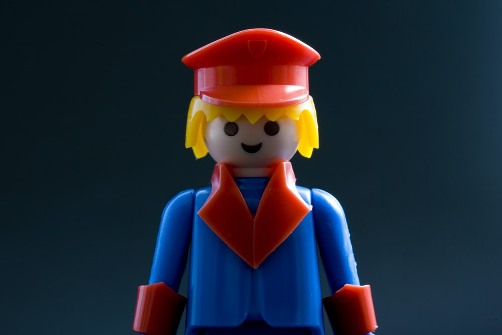 red, blue and yellow LEGO toy