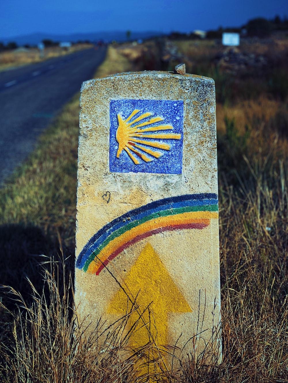 multicolored road marker