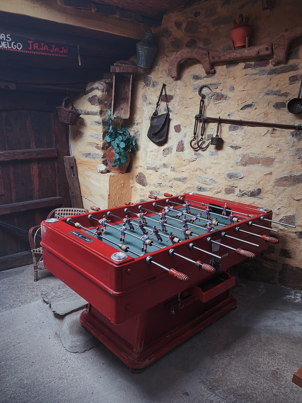 red foosball table