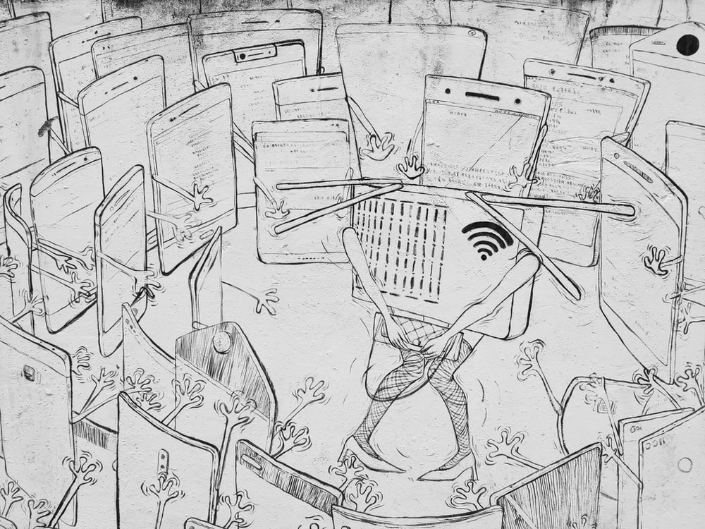 wifi surronded by smartphone illustration