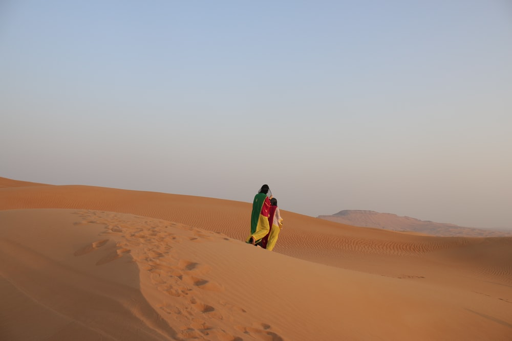 two persons walking at the desert