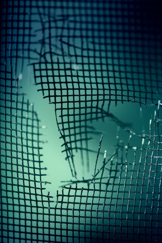 broken mesh fence