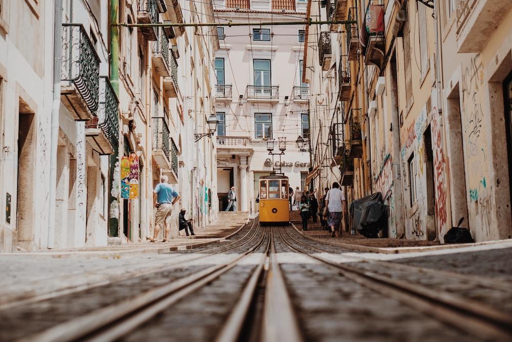 train between buildings