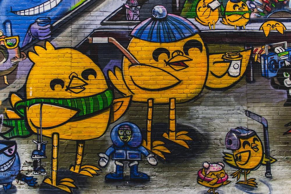 bird characters mural