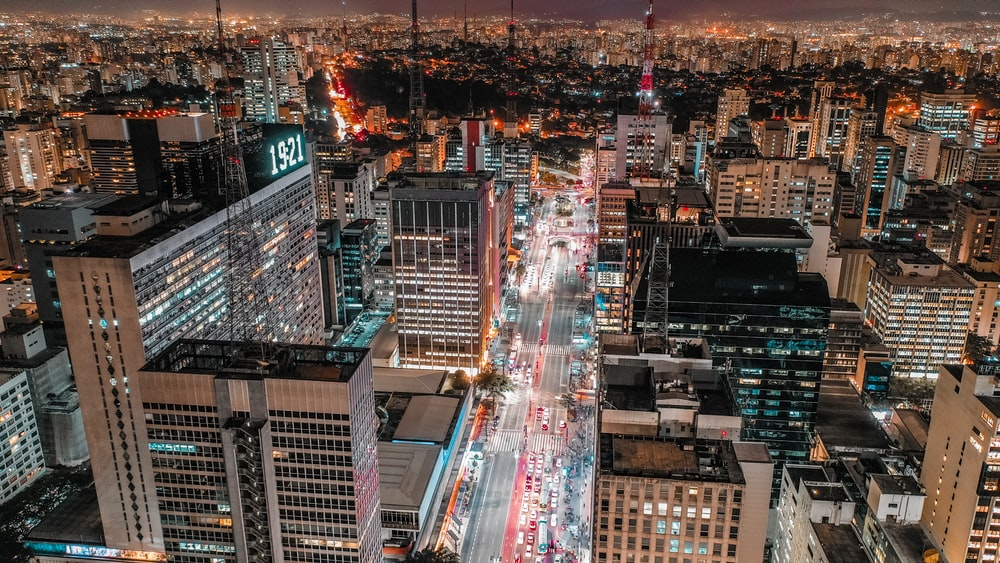 bird's eye view of the city at night
