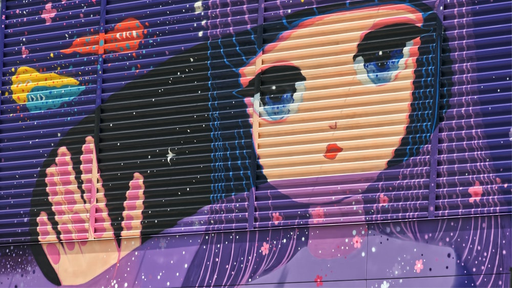 purple woman anime character print design in Venetian window blinds