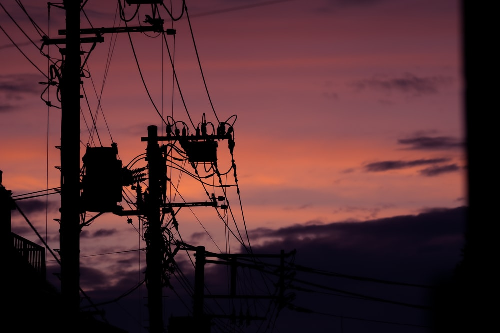 silhouette of electric post o