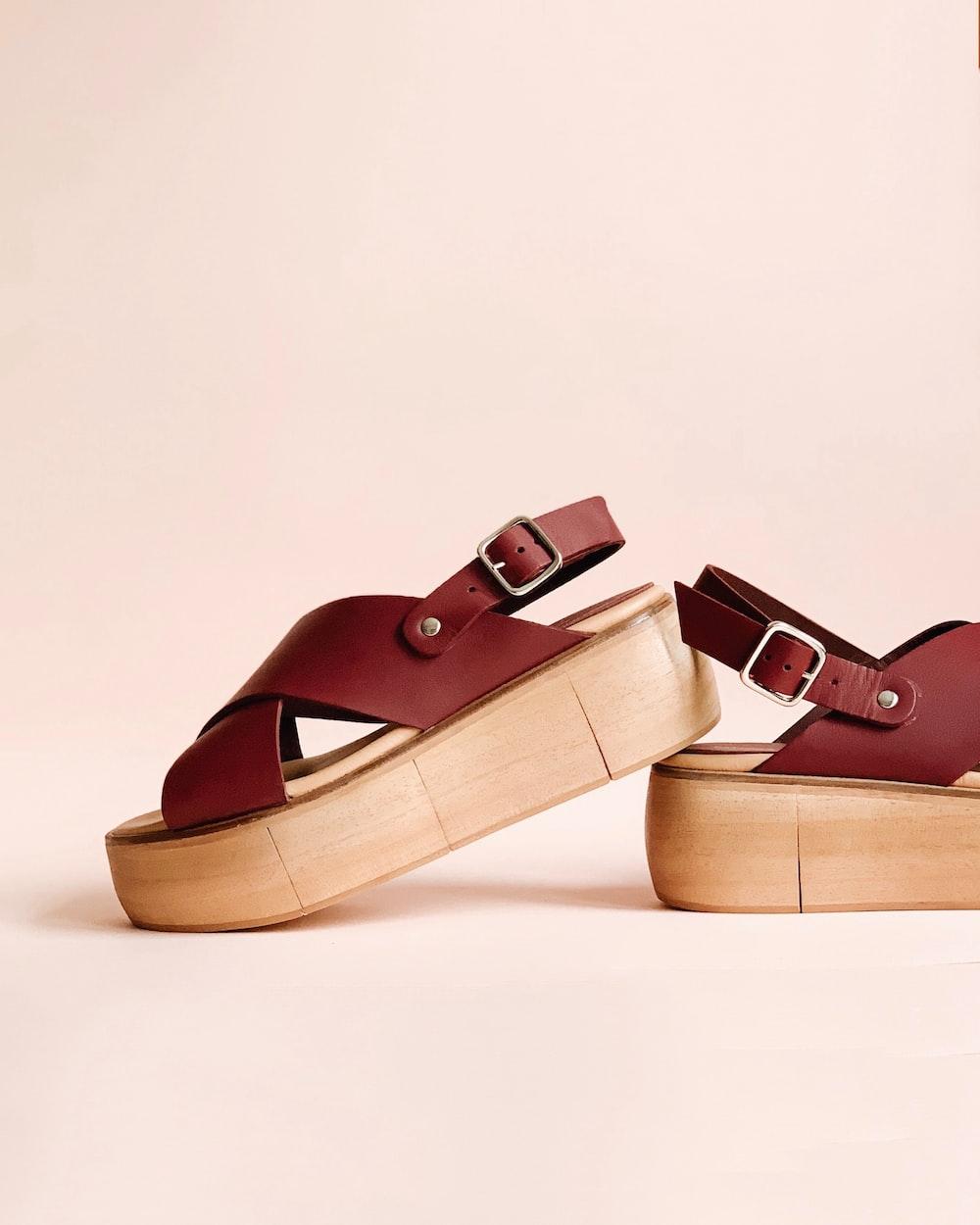 pair of maroon wedges