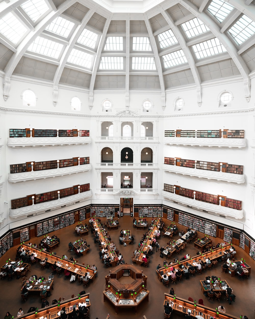 people inside library