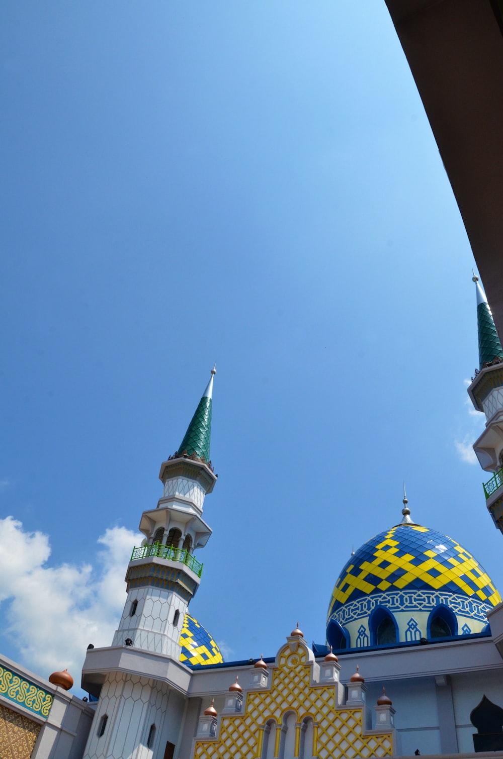white and blue concrete mosque